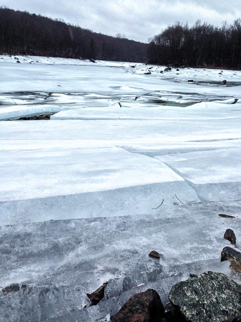Photo of Boyds Corner Reservoir turned into a jumble of icy blocks.