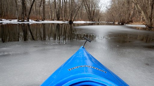 Photo taken from kayak of ice along the Croton East Branch