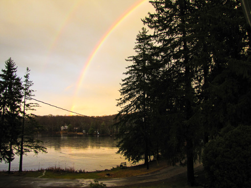 Phot of double rainbow over South Lake