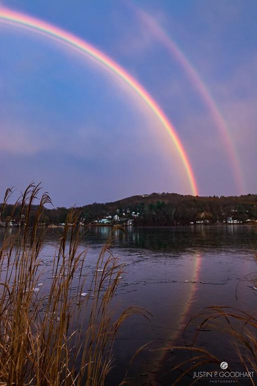 Photo of double rainbow over Putnam Lake