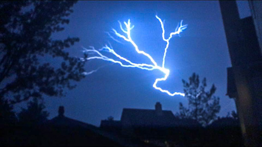 Photo of cloud-to-cloud lightning at night