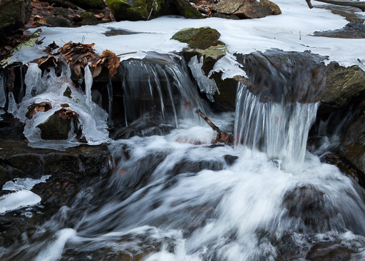 Photo of stream cascade in winter