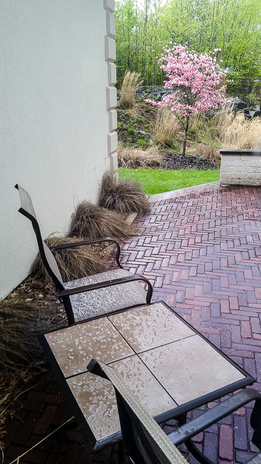 Photo of patio after a brief hailstorm